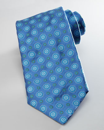 Medallion Silk Tie, Light Blue