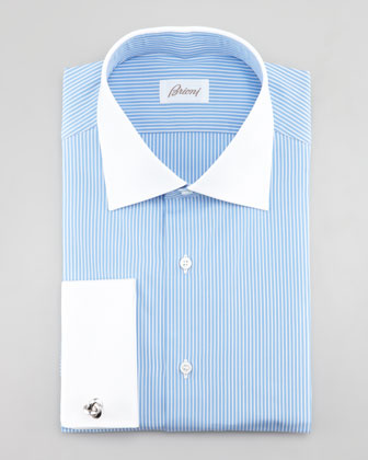 Contrast-Collar Striped Dress Shirt, Light Blue