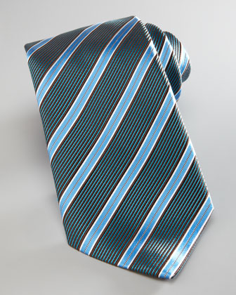 Textured Satin-Stripe Tie, Blue