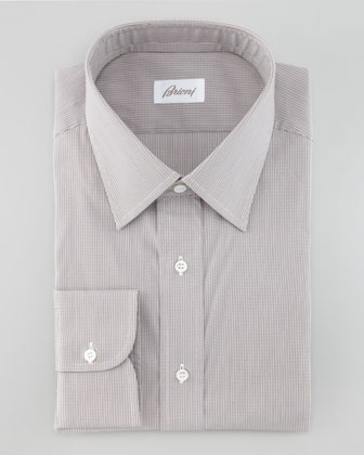 Check Button-Down Shirt, Brown