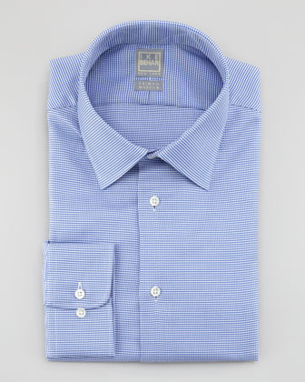 Houndstooth Dress Shirt, Dark Blue