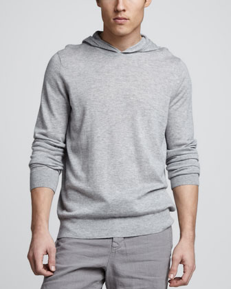 Lightweight Cashmere Hoodie, Heather Steel