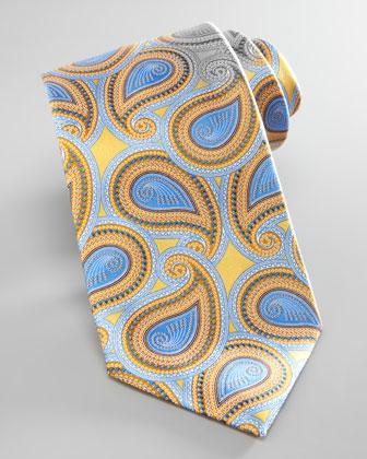 Large-Paisley Silk Tie, Yellow