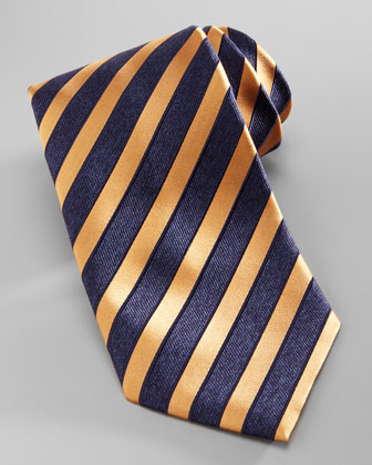 Wide-Stripe Silk Tie, Navy/Orange