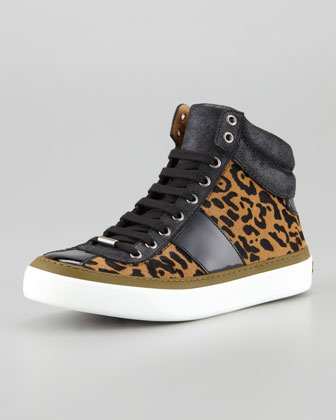 Belgravi Jaguar-Print Calf Hair Hi-Top Sneaker