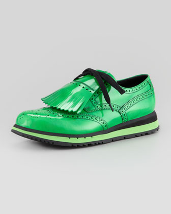 Kiltie Wing-Tip Wedge, Green