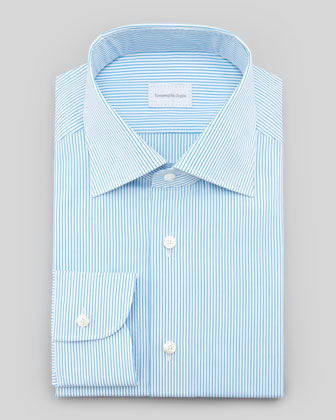 Pinstripe Dress Shirt, Aqua