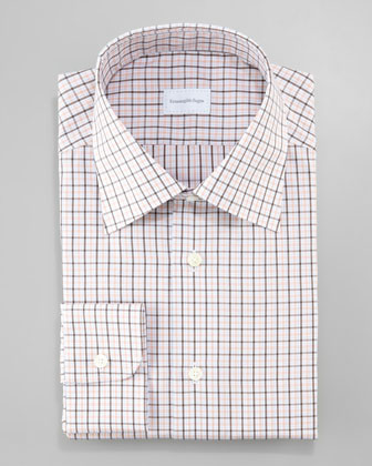 Plaid Dress Shirt, Orange