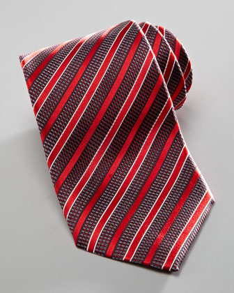 Textured-Stripe Silk Tie, Red