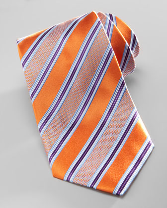 Satin-Stripe Silk Tie, Orange