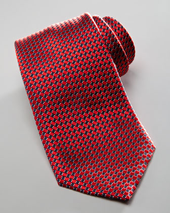 Textured Silk Tie, Red