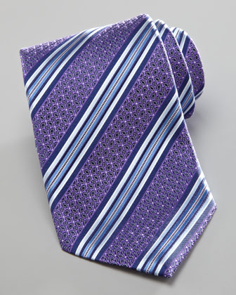 Striped Petals Tie, Purple