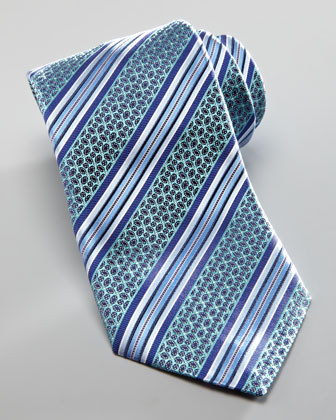 Striped Petals Tie, Teal