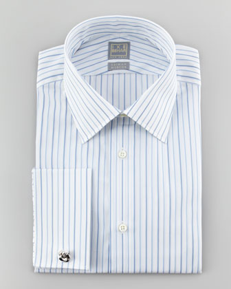 Satin-Striped French Cuff Dress Shirt, Blue/White