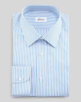 Bengal Sateen Striped Dress Shirt, Light Blue