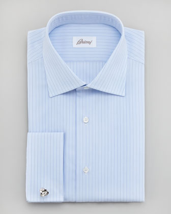 Tonal-Stripe French-Cuff Dress Shirt