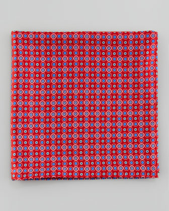 Small Medallion Neat Pocket Square, Red