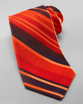 Striped Overdye Tie, Orange