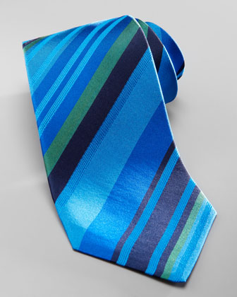 Striped Overdye Tie, Blue