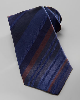 Striped Overdye Tie, Navy