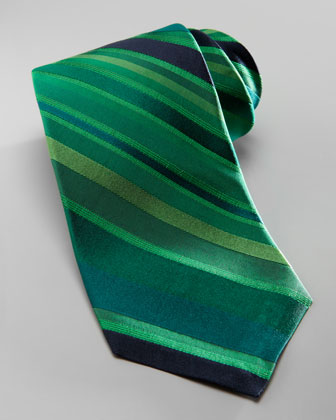 Striped Overdye Tie, Green