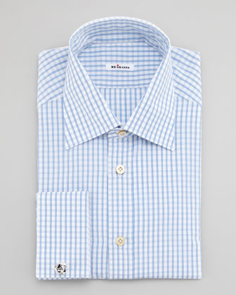 Check French-Cuff Dress Shirt, Light Blue
