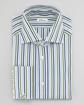 Bold-Stripe French-Cuff Dress Shirt, Green