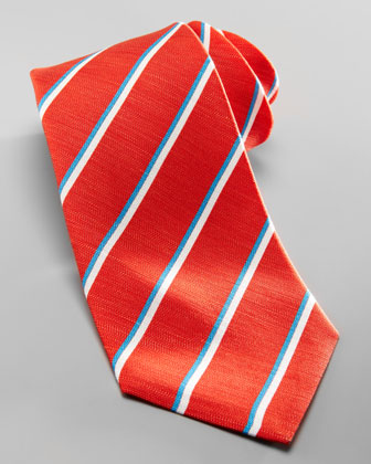 Striped Silk-Linen Tie, Red