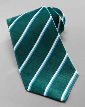 Striped Silk-Linen Tie, Green