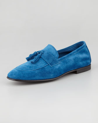 Deconstructed Suede Tassel Loafer, Blue