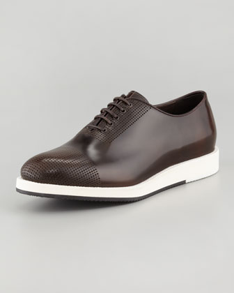 Perforated Cap-Toe Leather Sneaker