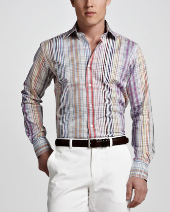 Plaid Sport Shirt, Multicolor
