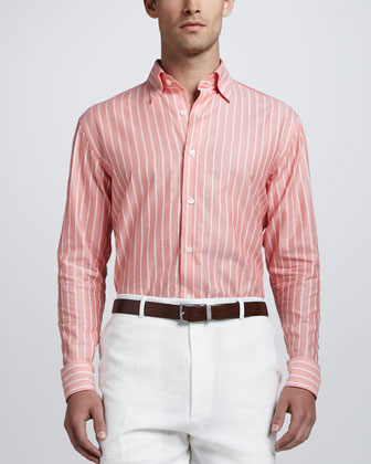 Textured Bold Striped Sport Shirt, Coral