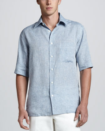 Short Sleeve Linen Shirt with Check Contrast, Blue