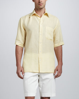 Short-Sleeve Linen Shirt with Stripe Contrast, Yellow