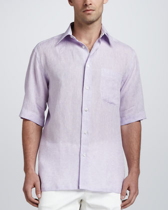 Short-Sleeve Linen Shirt with Stripe Contrast, Purple
