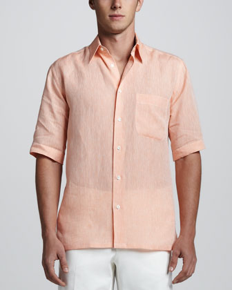Short Sleeve Linen Shirt with Paisley Contrast, Orange