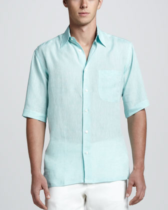 Short Sleeve Linen Shirt with Paisley Contrast, Aqua