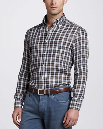 Plaid Linen Sport Shirt, Brown/Blue