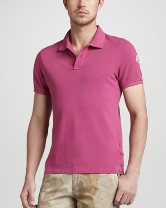 Seam Washed Pique Polo, Pink