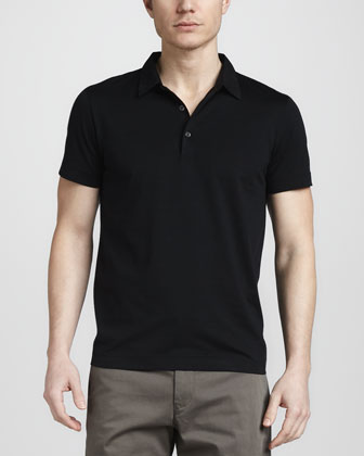 Abras Woven-Collar Polo, Black