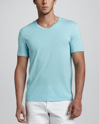 Jersey V-Neck Tee, Light Blue