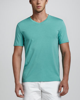 Jersey V-Neck Tee, Sea Green