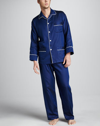 Men's Classic Sateen Pajamas, Navy