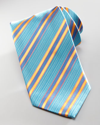 Textured-Stripe Silk Tie, Aqua