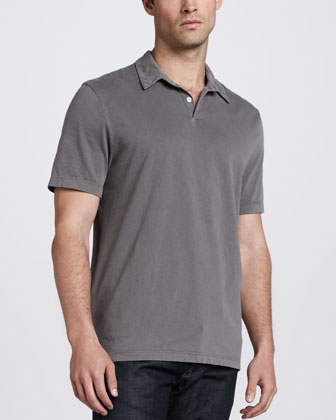 Sueded Jersey Polo, Gray