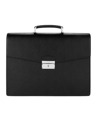 Leather Briefcase, Triple-Gusset
