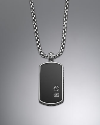 Extra Large Black Onyx Tag Necklace