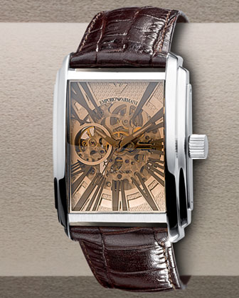 Automatic Skeleton Leather Watch, Brown
