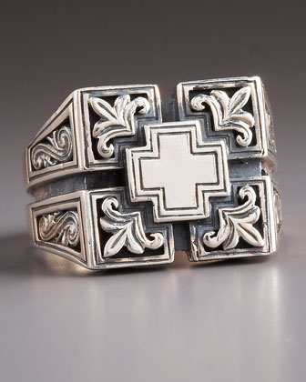 Etched Maltese Cross Ring